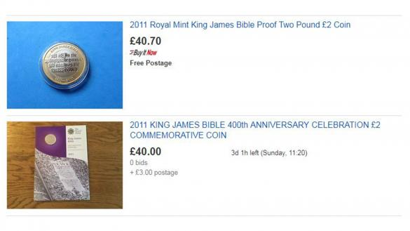 King James Bible £2 coins selling for more than face value