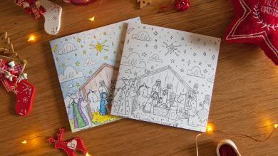 'Greatest Journey' colouring design Christmas cards (pack of 10)